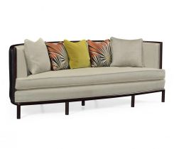 Jonathan Charles Medium Curved Sofa Upholstered in Leather with Mazo Seats