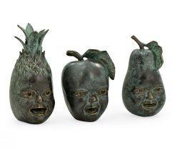 Jonathan Charles Fruit Ornament Trio with Faces