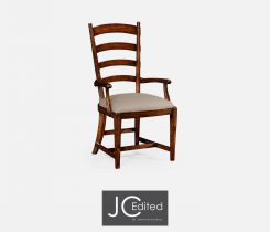 Jonathan Charles Dining Armchair Rural Ladderback in Walnut