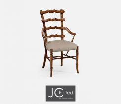 Jonathan Charles Dining Armchair Yoke Ladderback in Walnut