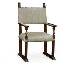 Jonathan Charles Dining Chair with Arm Acanthus Carved Rich Chestnut