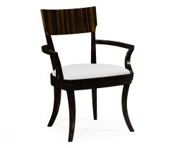 Jonathan Charles Dining Chair with Arm in Black Ebony