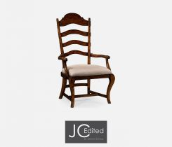 Jonathan Charles Dining Chair with Arm in Rustic Walnut