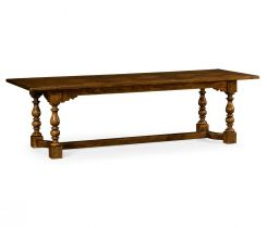 "Jonathan Charles Dining Table 105"" Warm Chestnut Library"