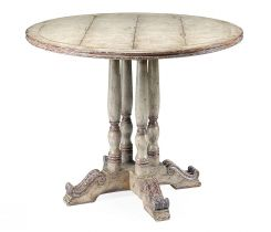 Jonathan Charles Round Dining Table French in Painted Country Sage