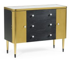Jonathan Charles Storage Cabinet with Drawers in Ebonised Oak