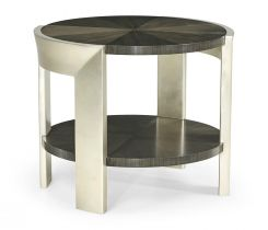 Jonathan Charles Round End Table in Dark Grey Walnut