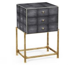 Jonathan Charles Small Chest of Drawers 1930s in Anthracite Faux Shagreen