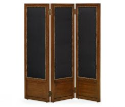 Jonathan Charles Folding Screen Medium Mahogany & Black Linen