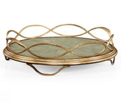 Jonathan Charles Round Tray Interlaced in Green Faux Shagreen
