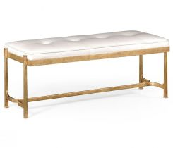 Jonathan Charles Bench Contemporary in White Leather