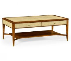 Jonathan Charles Coffee Table Ivory Faux Shagreen