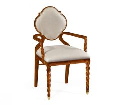 Jonathan Charles Dining Chair with Arms Barley in Walnut - Mazo