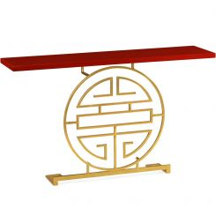 Jonathan Charles Console Table Oriental Medallion in Gold