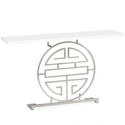 Jonathan Charles Console Table Oriental Medallion in Silver
