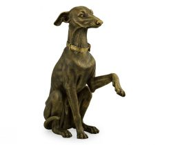Jonathan Charles Whippet Dog Figurine in Light Brass