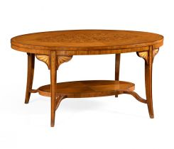 Jonathan Charles Oval Coffee Table Marquetry