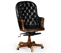 Jonathan Charles Office Chair Chesterfield High Back in Walnut