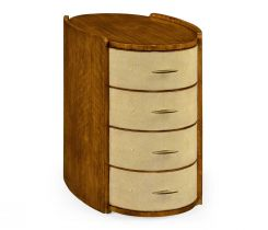 Jonathan Charles Narrow Bedside Chest Ivory Faux Shagreen