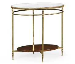 Jonathan Charles Oval End Table with Antique Mirror Top