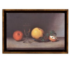 Jonathan Charles Painting on a Honey Walnut Frame Still Life with Apples, Sherry, and Tea Cakes