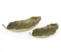Jonathan Charles Leaves Dish Pair in Antique Brass
