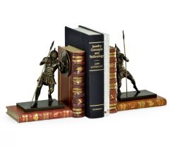 Jonathan Charles Bookends Roman Gladiator with Faux Books