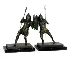 Jonathan Charles Bookends Combatant on Marble Stands