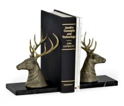 Jonathan Charles Bookends Deer on Marble Base
