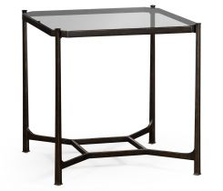 Jonathan Charles Square Side Table Contemporary with Glass Top