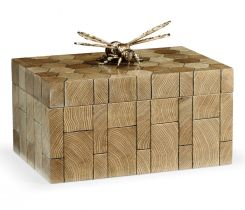 Jonathan Charles Decorative Bee Box in Oyster Honeycomb