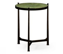 Jonathan Charles Round End Table Contemporary in Green Faux Shagreen