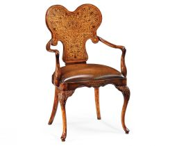 Jonathan Charles Armchair George I in Brown Leather