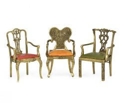 Jonathan Charles Miniature Chair Ornaments with Leather Seats