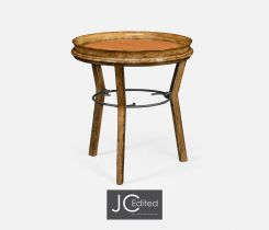 Jonathan Charles Round Side Table in Brown Chestnut
