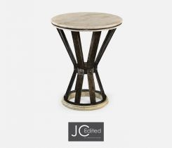 Jonathan Charles Side Table Wrought Iron with Marble Top