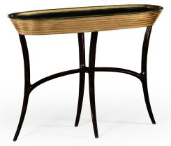 Jonathan Charles Oval Console Table Modernist Stepped