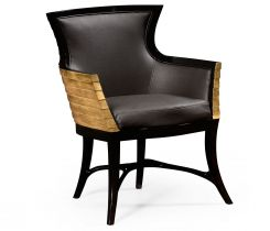 Jonathan Charles Tub Armchair Modernist Stepped in Leather