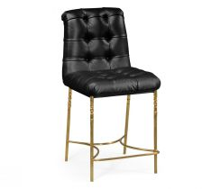 Jonathan Charles Stool Tropical in Black Leather