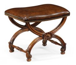 Jonathan Charles Stool with Scallop Shell in Walnut