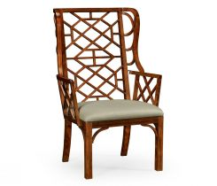 Jonathan Charles Wing Chair Imperial Mahogany Lattice Back